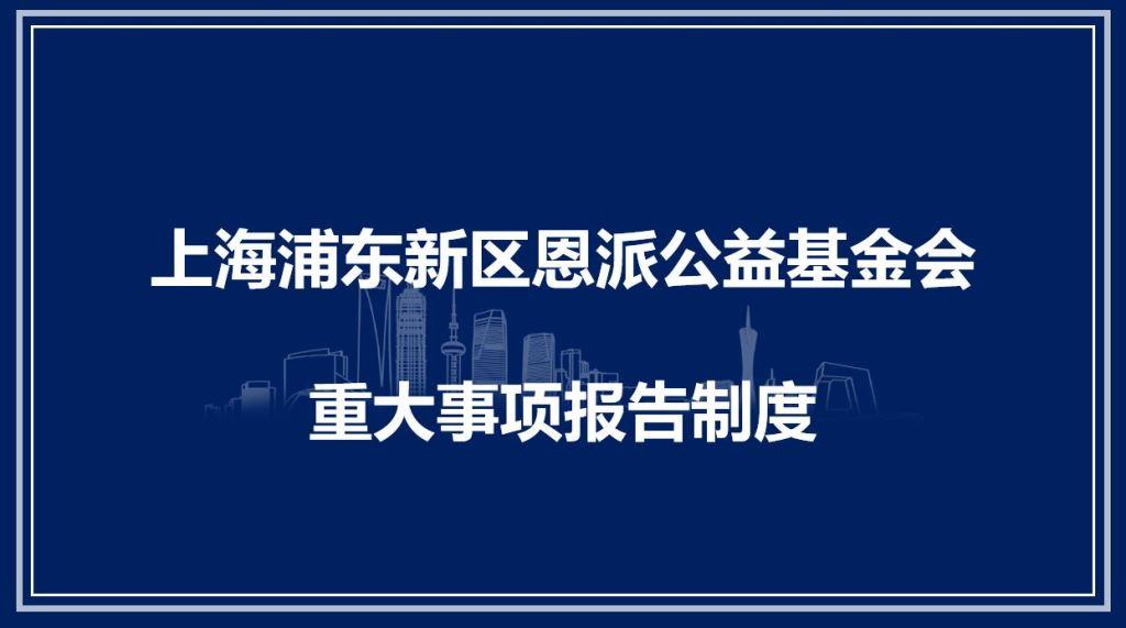 上海浦东新区恩派公益基金会 重大事项报告制度